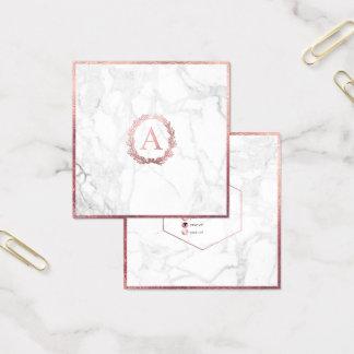 PixDezines Marble+DIY Faux Rose Gold Monogram Square Business Card