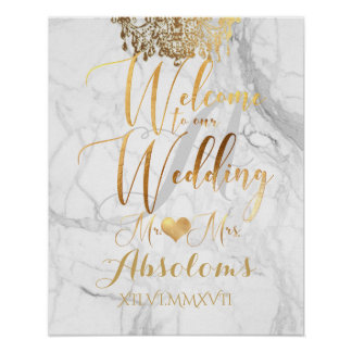 PixDezines Marble/Faux Gold Chandelier/Reception Poster