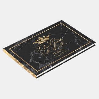 PixDezines Marble+Faux Gold Crown+Fancy Script Guest Book