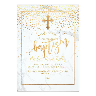 PixDezines Marble+Faux Gold Dots/Baptism Card