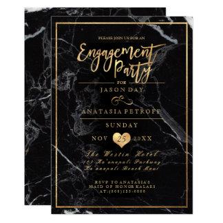 PixDezines Marble/Faux Gold/Engagement Party 13 Cm X 18 Cm Invitation Card