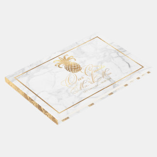 PixDezines Marble+Faux Gold Pineapples Guest Book