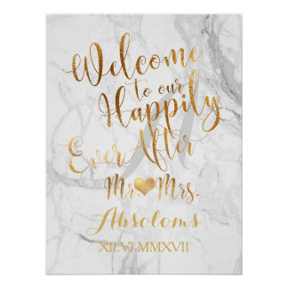 PixDezines Marble/Faux Gold/Reception Poster