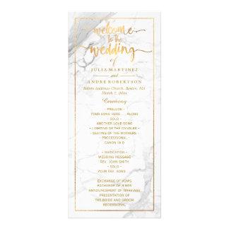 PixDezines Marble+Faux Gold Wedding Program Personalized Rack Card