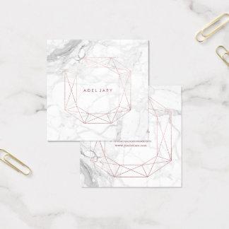 PixDezines Marble+Faux Rose Gold Emerald Cut Square Business Card