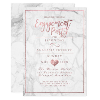 PixDezines Marble/Faux Rose Gold/Engagement Party 13 Cm X 18 Cm Invitation Card