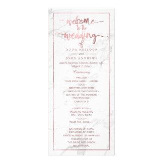 PixDezines Marble+Faux Rose Gold Wedding Program Rack Cards