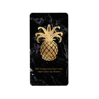 PixDezines Marble+Hawaiian Pineapple Faux Gold Address Label
