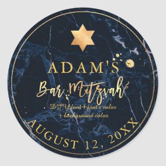 PixDezines Marble Mitzvah Stickers/Midnight Blue Classic Round Sticker