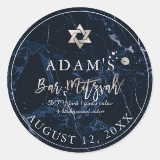 PixDezines Marble Mitzvah Stickers/Midnight Blue Classic Round Sticker