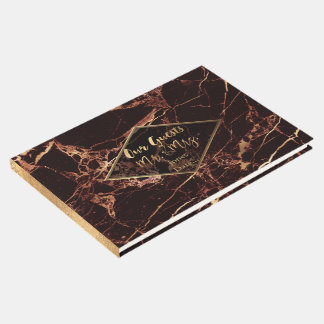 PixDezines MASALA RED MARBLE+FAUX GOLD VEINS Guest Book