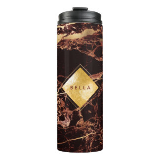 PixDezines MASALA RED MARBLE FAUX GOLD VEINS Thermal Tumbler