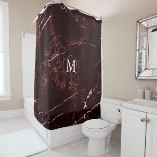 PixDezines MASALA RED MARBLE+MONOGRAM (removable) Shower Curtain