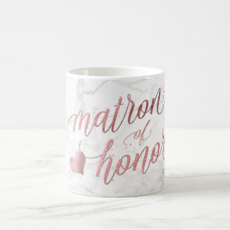 PixDezines Matron of Honor/Faux Rose Gold+Marble Coffee Mug