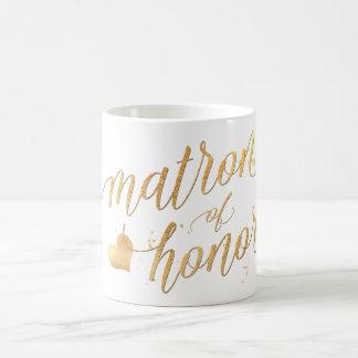PixDezines Matron of Honour/Faux Gold Foil Script Coffee Mug