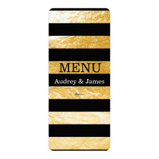 PixDezines Menu Black Stripes/Faux Gold Card