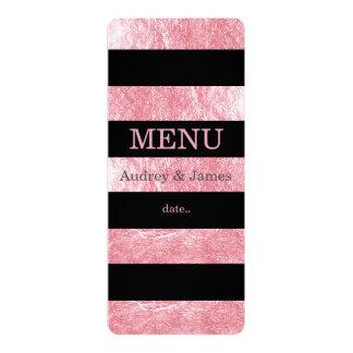 PixDezines menu black stripes/pink strawberry 10 Cm X 24 Cm Invitation Card