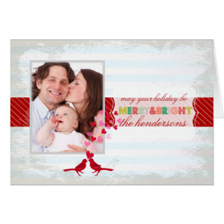 PixDezines merry/bright/stripes/DIY blue color Greeting Card
