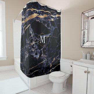 PixDezines MIDNIGHT BLU MARBLE+MONOGRAM Shower Curtain