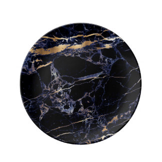 PixDezines MIDNIGHT BLUE MARBLE/FAUX GOLD VEINS Plate