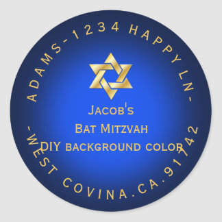 PixDezines mitzvah return address/DIY color Round Stickers
