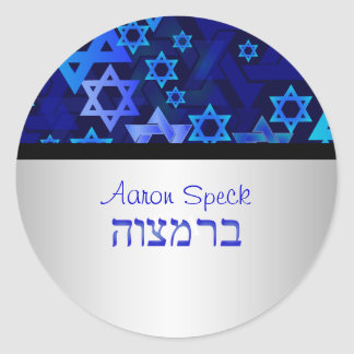 PixDezines mod stars/Star of David/Bar Mitzvah Classic Round Sticker