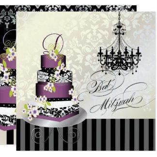 PixDezines MONOGRAM BAT MITZVAH/PLUM PUDDING CAKE Card
