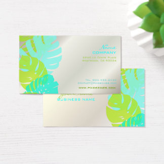 PixDezines Monstera, retro tropical foliage Business Card