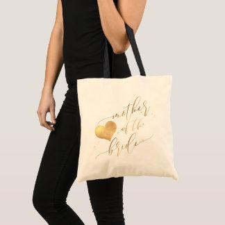 PixDezines Mother of Bride/Faux Gold Script Tote Bag