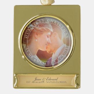 PixDezines Mr & Mrs First Christmas Wedding Photo Gold Plated Banner Ornament