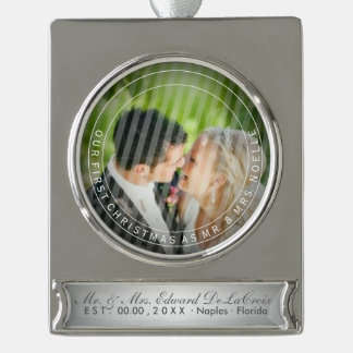 PixDezines Mr & Mrs First Christmas Wedding Photo Silver Plated Banner Ornament