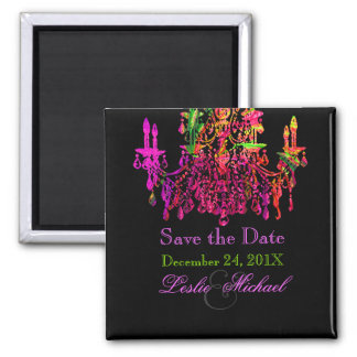 PixDezines murano glass chandelier/ Save the Date Square Magnet