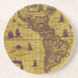 PixDezines Nautical/ vintage world map Beverage Coasters