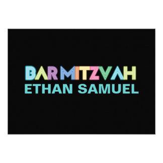 PixDezines neon bar mitzvah Cards