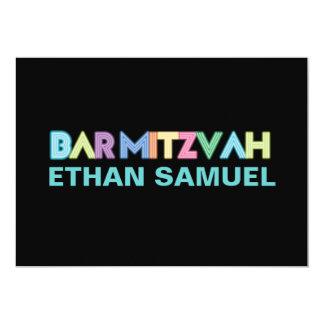 "PixDezines neon bar mitzvah 5"" X 7"" Invitation Card"