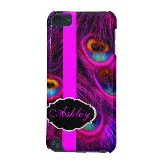 PixDezines Neon Pink Peacock/Monogram iPod Touch 5G Case