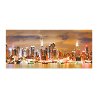PixDezines NYC Skyline/Manhattan/Night Lights Canvas Print