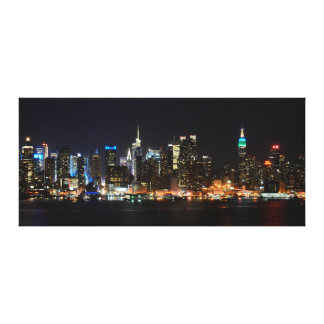 PixDezines NYC Skyline/Manhattan/Night Lights Gallery Wrapped Canvas