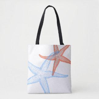 PixDezines Orange/Blue Starfish /DIY background Tote Bag