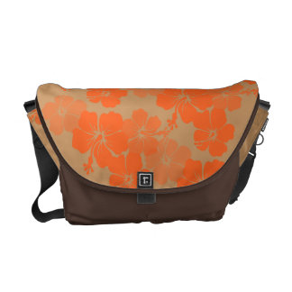 PixDezines orange hibiscus/diy background color Commuter Bag