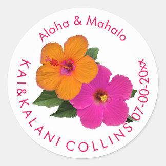 PixDezines Orange/Pink Hibiscus/Aloha/Mahalo Round Sticker