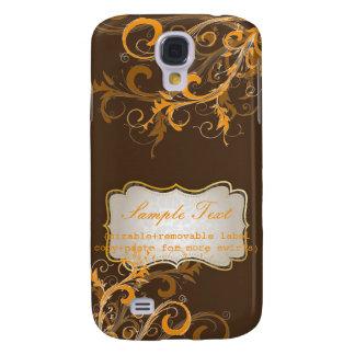 PixDezines Orange Swirls, Monogram Galaxy S4 Cases