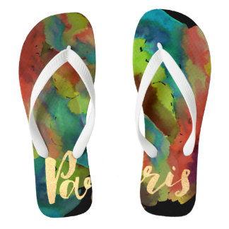 PixDezines paris/cool watercolor Thongs