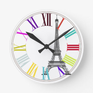 PixDezines paris, eiffel/DIY background color Round Clock