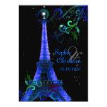 PixDezines Paris La Nuit, eiffel tower 13 Cm X 18 Cm Invitation Card