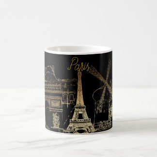 PixDezines Paris la nuit/Gold Tone Coffee Mug