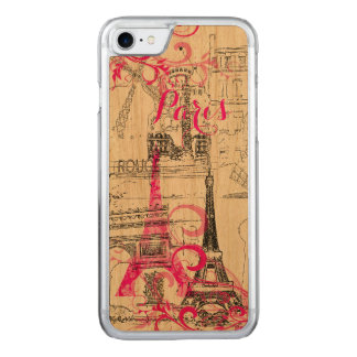 PixDezines paris sketched/DIY background color Carved iPhone 8/7 Case