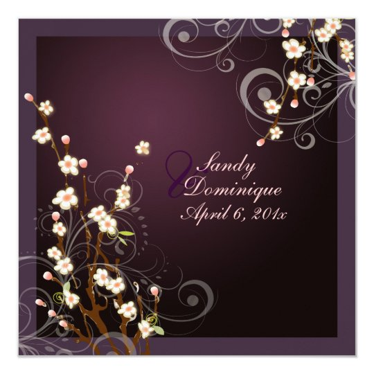 PixDezines Peach Sakura, wedding invitations