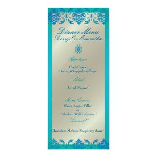 PixDezines peacock blue vendome damask, Menu 10 Cm X 24 Cm Invitation Card