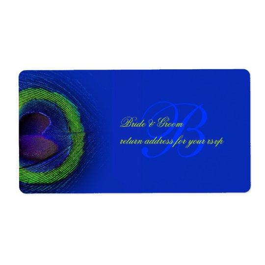 PixDezines peacock eye cobalt blue Shipping Label